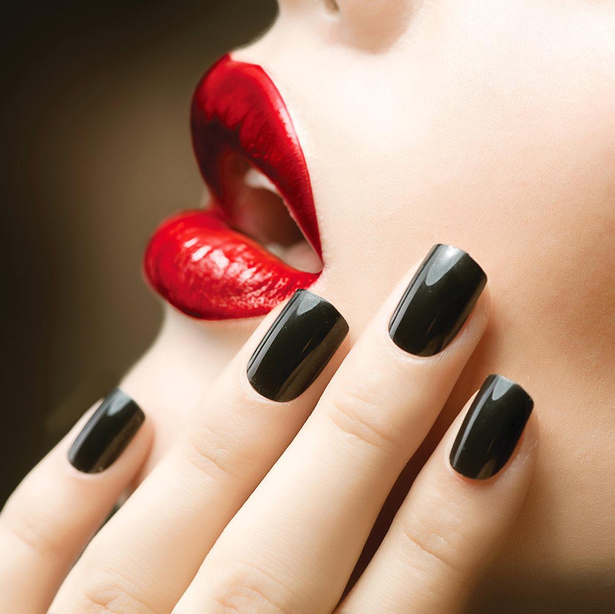 black nails red lips - The Nail Hut